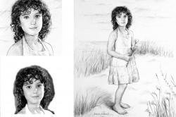 charcoal portrait of little girl at the beach