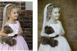 little girl with teddy bear in oil portrait