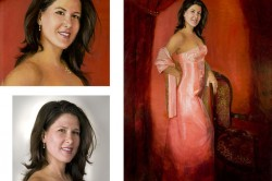 oil portrait of full-length woman in orange