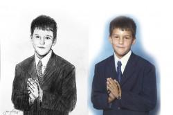 charcoal portrait of boy at communion