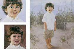 little boy at beach in oil portrait