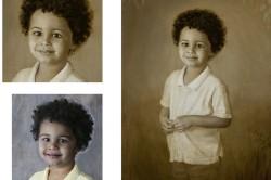 oil portrait of little Afro-American boy