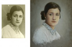 realistic portrait in oil of mother from old photo