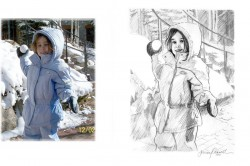 little girl in snow commissioned charcoal portrait