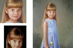 young girl in blue in custom oil portrait