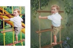 little boy in oil portrait painting