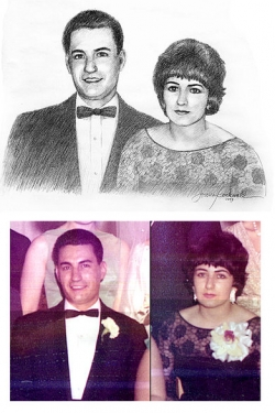 custom charcoal portrait of parents from old photos