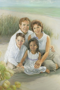 oil painting portrait of family at beach