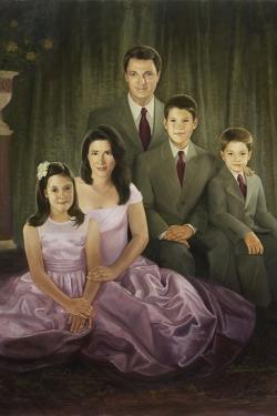 custom oil portrait of family of 5