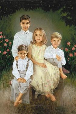 custom oil portrait of 4 children in rose garden