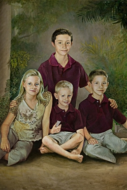 oil portrait painting of 4 children with columns
