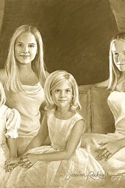 sepia oil portrait of 4 sisters on couch