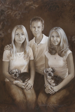 oil portrait in sepia of 3 teenages with 2 dogs