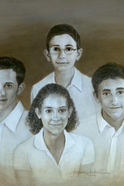 sepia oil portrait of 4 children