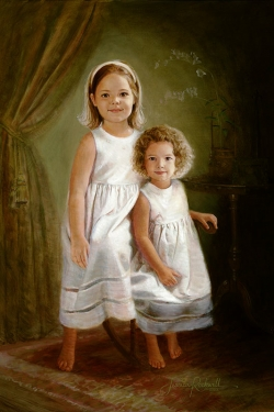 oil portrait of Caroline Kole and sister in youth