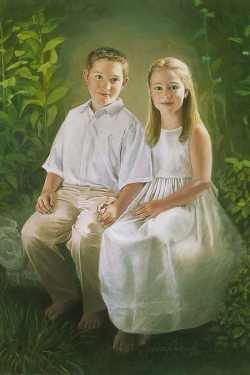 oil portrait of brother and sister seated in garden