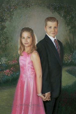 oil portrait painting of brother and sister