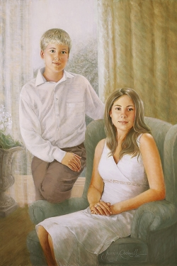 oil portrait of teen brother and sister by a bright window