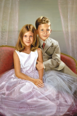 oil portrait of young brother and sister on divan