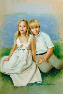 oil portrait of brother and sister with abstract beach background