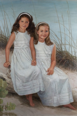 custom portrait in oil of 2 young sisters at beach