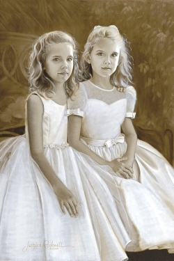 oil portrait in sepia of 2 sisters on bench