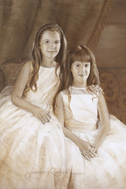oil portrait painting of sisters by patio and wrought iron railing