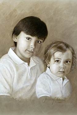 2 young brothers in head and shoulders oil portrait