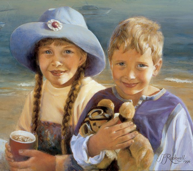 oil painting portrait of 2 young children at the beach