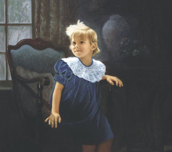 portrait oil painting of little girl in velvet dress