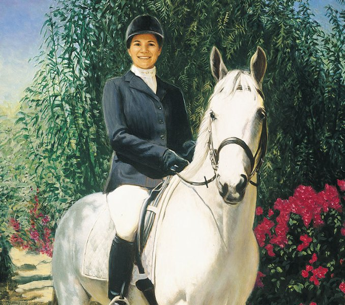 oil portrait painting of woman on white horse