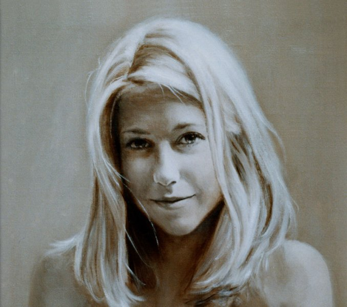 oil painting portrait head and shoulders in sepia of blonde girl