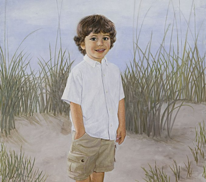 portrait oil painting of little boy at beach