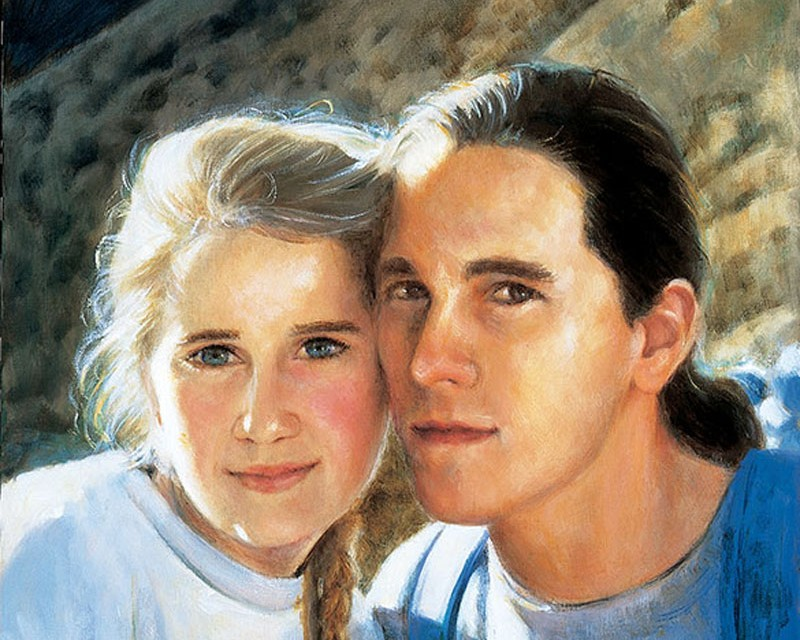 commission oil portrait of brother and sister