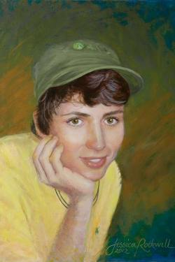 portrait in oil of young man in baseball cap