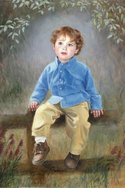 oil portrait of very little boy on fence