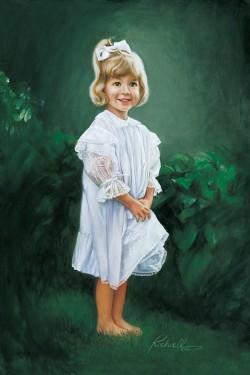oil portrait painting of little girl in white dress against dark greenery