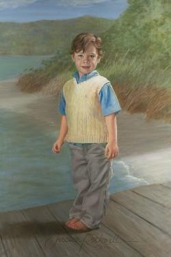 portrait in oil of little boy on dock