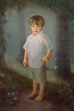 portrait in oil of little boy in woods