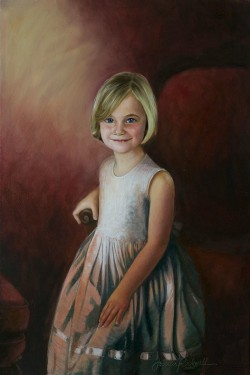 little girl in oil portrait painting with red background