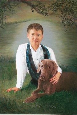 oil portrait of young boy with labrador
