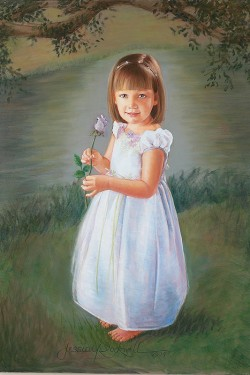 portrait painting in oil of little girl with lavender rose