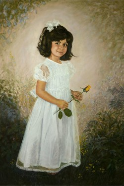 oil painting portrait of little girl with yellow rose