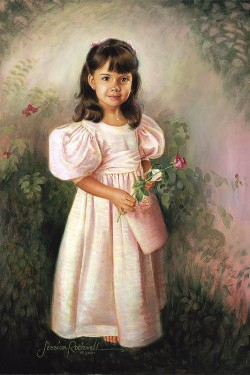 portrait painting in oil of little girl in pink