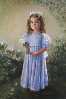 oil portrait painting of little girl in blue