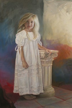 oil portrait of a little girl in white with an abstract background