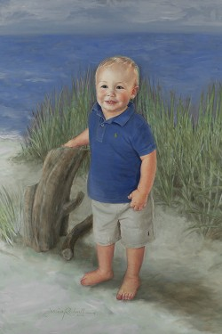 portrait in oil of a little boy in blue at the beach