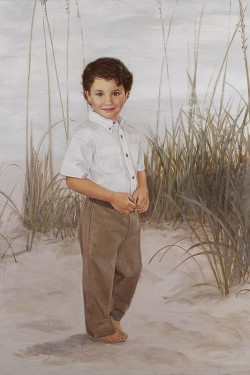 portrait painting in oil of little boy at beach with trousers and bare feet
