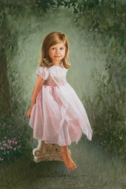 portrait oil painting of a little girl in pink with greenery background
