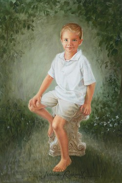 little boy in khaki shorts and a greenery background